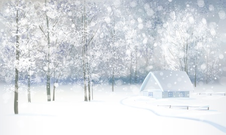 winter scenery: winter snowy landscape with house in forest