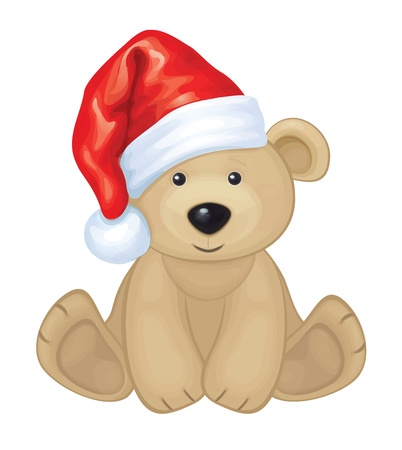 teddy bear christmas: Cute brown bear in red Santa s hat isolated