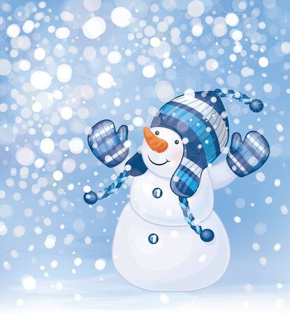 Happy snowman and snowfall   Vector