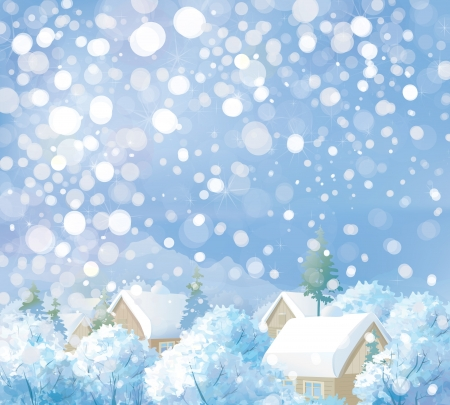 snowy landscape: Vector of winter landscape  Merry Christmas  Happy New Year