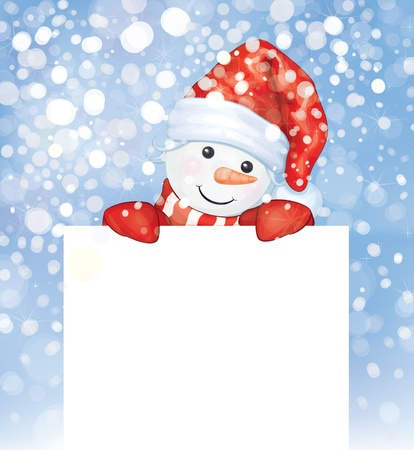 Fun snowman hiding by blank on snowfall background   Vector