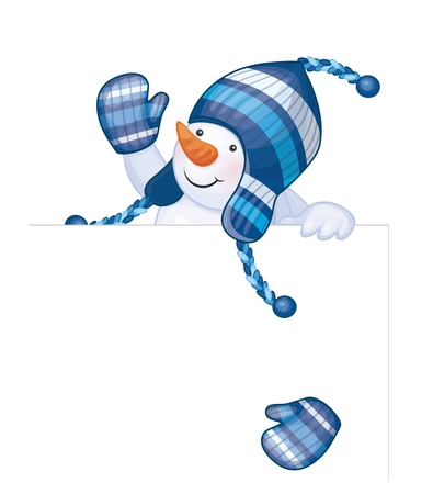 Fun snowman hiding by blank isolated   Vector
