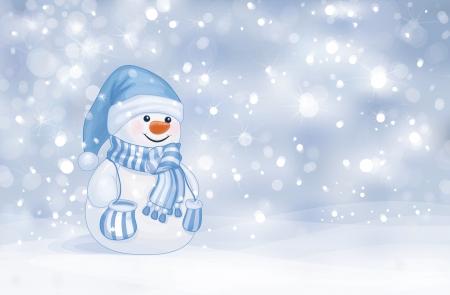 Muñeco de nieve feliz en el fondo nevadas