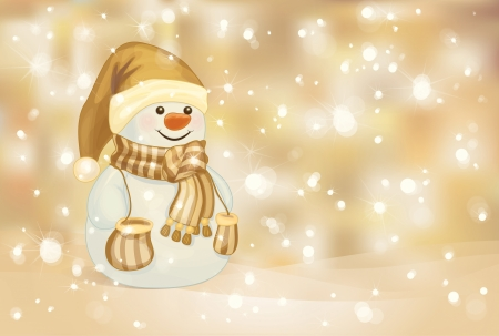 happy snowman on golden background   Vector