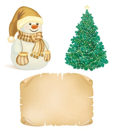 crumpled paper ball: Christmas symbols for design in golden colors
