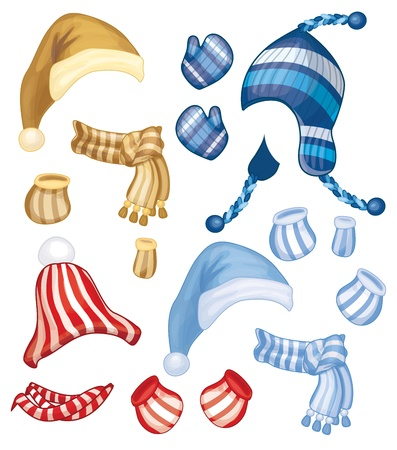 set of hats, scarfs and gloves for design isolated  Vector