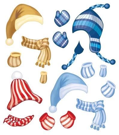 set van hoeden, sjaals en handschoenen voor ontwerp geïsoleerd