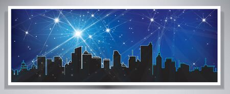 Vector banner night cityscape  Vector