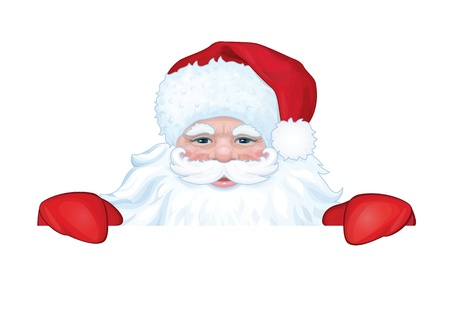 klaus: Vector of Santa Claus hiding by blank isolated  Illustration
