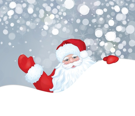 winter wonderland: Vector of Santa Claus hiding by blank isolated on snowfall background
