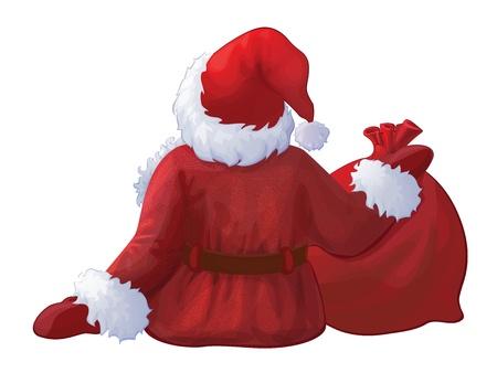Vector de Santa Claus detrás aislado Ilustración de vector