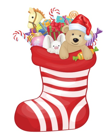 christmas baby: Vector Christmas sock with toys and gifts