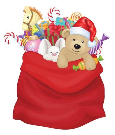 장난감 및 선물 벡터 산타 클로스 가방