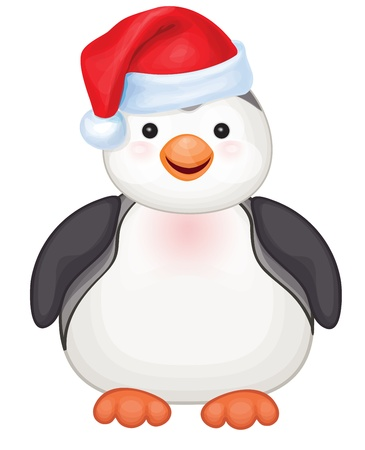 Vector of cute penguin in red Santa