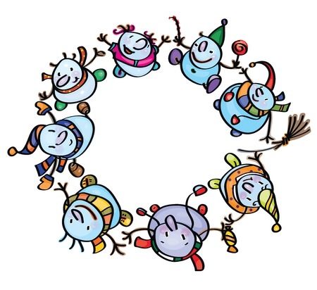 funny snowmen dancing in circle  Vector