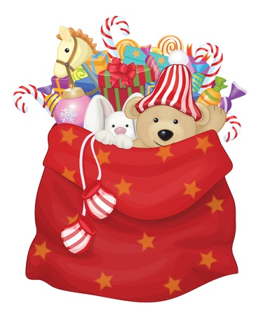 teddy bear christmas: Vector Santa Claus bag with toys and gifts   Illustration