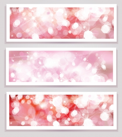 horizontal banner: Vector pink glitter banners   Illustration