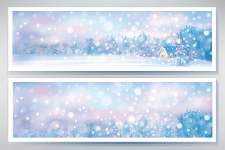 vector banners: Vector of winter  snow scene  banners  Illustration