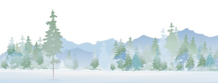 christmas morning: Vector of winter landscape