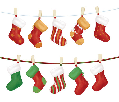 gifts: Vector Christmas sokken Stock Illustratie