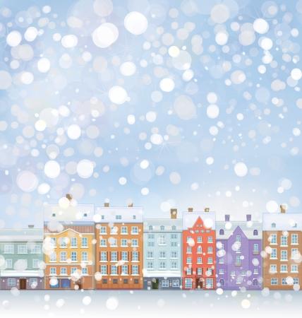 городской пейзаж: Вектор Winter Wonderland городской пейзаж