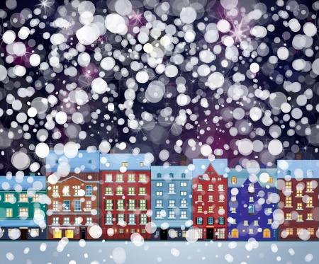 Vector of winter wonderland cityscape, nightscene   Vector