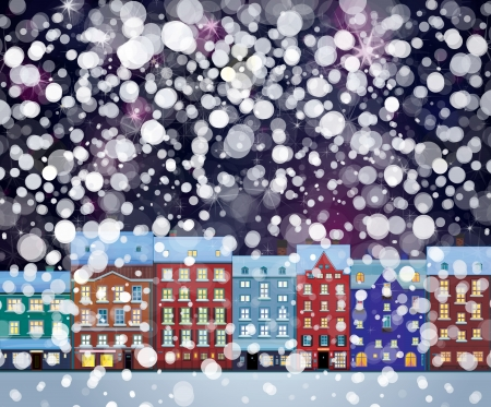 winter wonderland: Vector of winter wonderland cityscape, nightscene