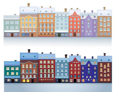 house building: Vector of winter city isolated daytime and nighttime scenes