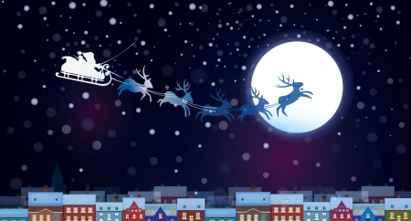 Vector Santa Claus Sleigh on sky background, cityscape nightscene