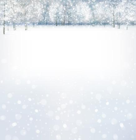 invierno: Vector de escena de invierno con bosque de fondo