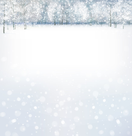 Vector of winter scene with forest background  Illustration