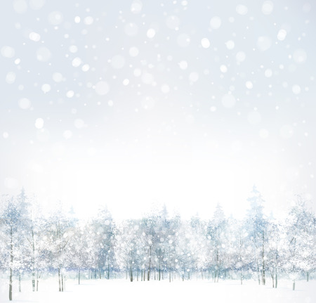 scene: Vector of winter scene with forest background