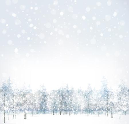 Vector van winter scène met bos achtergrond Vector Illustratie