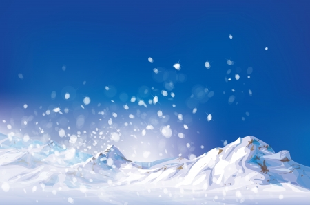 winter scene: Vector of winter scene, white snow, mountains and blue sky