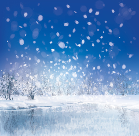 snowfalls: Vector of winter scene with forest background  Illustration