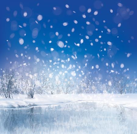 in winter: Vettore di scena di inverno con sfondo della foresta Vettoriali