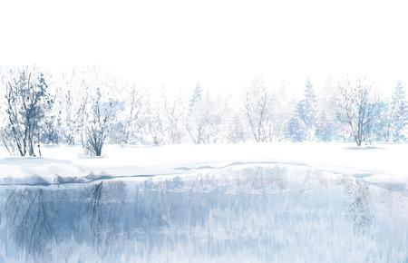 invierno: Vector de escena de invierno con el río y el bosque de fondo Vectores