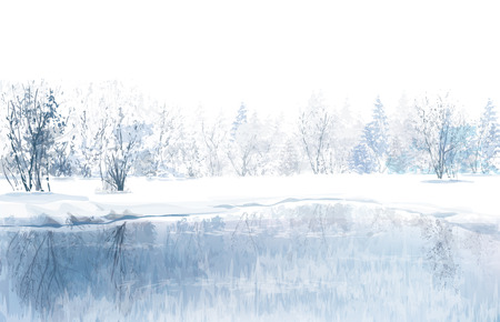 winter scenery: Vector of winter scene with river and forest background