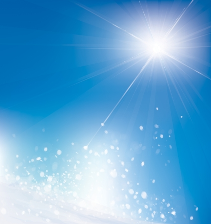 winter scene: Vector of winter scene, white snow blue sky and sunshine  Illustration