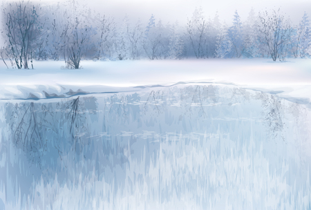 scene: Vector of winter scene with river and forest background