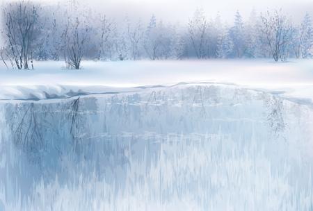 rios: Vetor da cena do inverno com rio e fundo da floresta