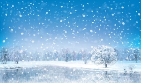 paysage hiver: Vecteur paysage d'hiver