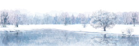 frozen lake: Vector of winter scene with river and forest background