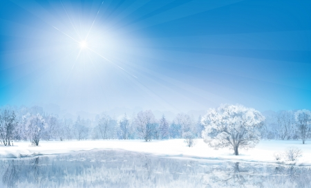 frozen lake: Vector winter landscape, sunny day  Illustration