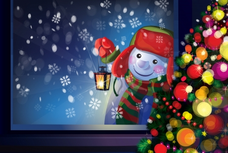 Vector snowman holding Christmas lantern and looking through window  Vector