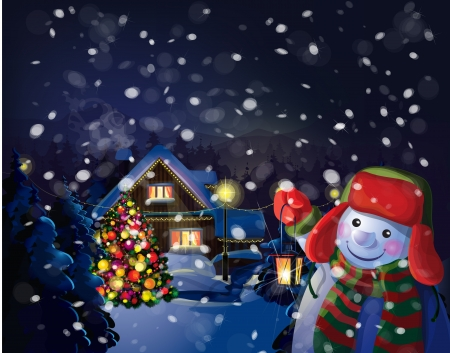 snowman: Vector snowman holding  lantern on Christmas scene background   Illustration