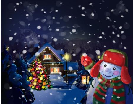 winter wonderland: Vector snowman holding  lantern on Christmas scene background   Illustration
