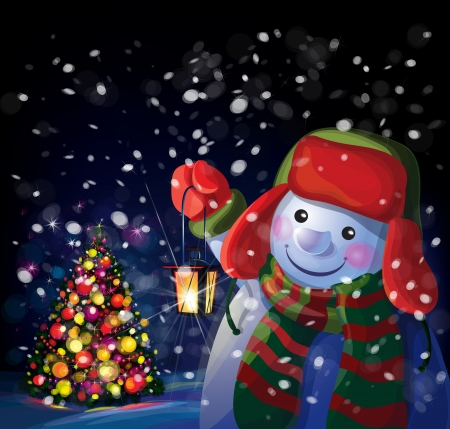 Vector snowman holding Christmas lantern on Chrismas tree background  Vector