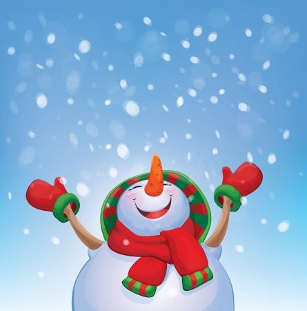 ベクター幸せな雪だるまと降雪量