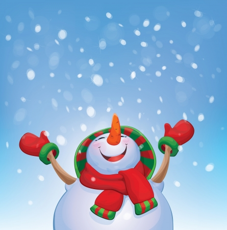 winter wonderland: Vector happy snowman and snowfall